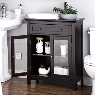Glitzhome Free Standing Wooden Floor Storage Cabinet Accent and Display Cabinet with Double Doors and Drawer Espresso