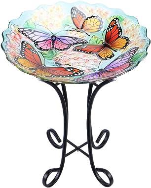 "MUMTOP Outdoor Glass Birdbath with Metal Stand for Lawn Yard Garden Butterfly Decor,18"" Dia/21.65 Height"