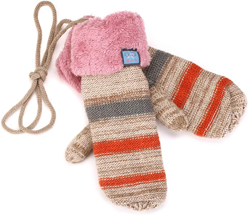 YAN & LEI Women's Knitted Mittens Gloves with Elastic Cuffs for Winter
