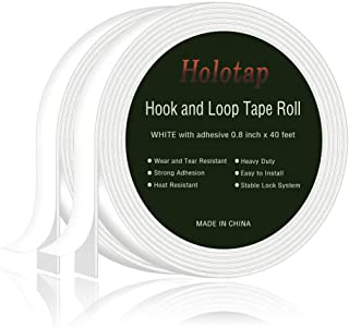 40 Feet x 0.8 Inch Hook and Loop Tape Roll Self Back Adhesive Fastening Strips by Holotap Fabric Fastener Mounting Tape (White)