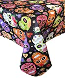 Newbridge Dia De Los Muertos Halloween Vinyl Flannel Backed Tablecloth - Spooky Day of The Dead Skeleton Mask Halloween Floral Tablecloth, Easy Care Wipe Clean, 60 in x 84 in Oval