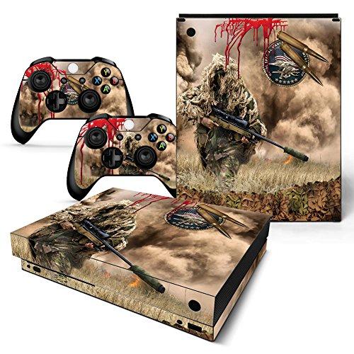 46 North Design Xbox One X Folie Skin Sticker Konsole Sniper Camouflage aus Vinyl-Folie Aufkleber Und 2 x Controller folie