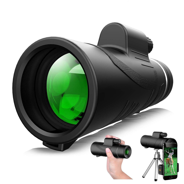 涙が出る旅客貨物単眼鏡 10X42単眼望遠鏡、スマートフォンホルダー&三脚と単眼ハイパワーHD - 耐久性とクリアFMC BAK4プリズム付き防水単眼