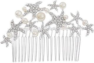 Wacemak1r - Pettine per capelli da sposa, con strass e perle, accessorio da sposa, diadema nuziale