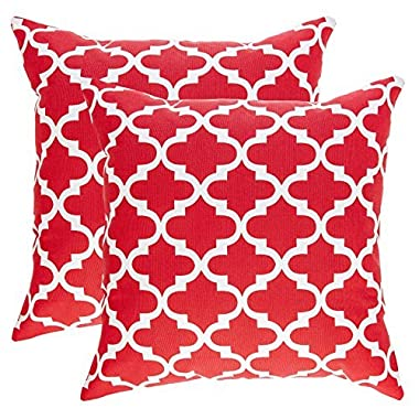TreeWool, (2 Pack) Throw Pillow Covers Trellis Accent Decorative Pillowcases Toss Pillow Cushion Shams Slips Covers for Sofa Couch (18 x 18 Inches / 45 x 45 cm; Red), White Background