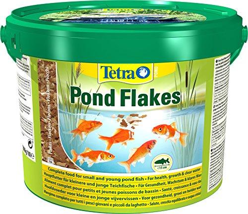 Tetra Pond Flakes – Aliments complets en Flocons pour les poissons de Bassin de Jardin et d'Ornement - Adaptés aux poissons de petite taille, Jeunes Poissons, Poissons Craintifs – 10 L