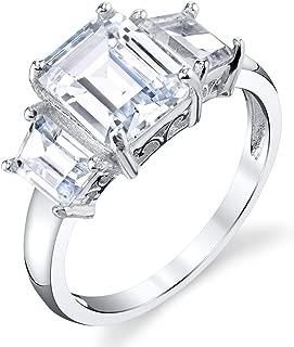 Minxwinx Sterling Silver 3 Stone Emerald Cut Cubic Zirconia 4 Carat Engagement Ring Modern Contemporary