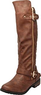 Cambridge Select Women's Quilted Side Zip Knee High Flat Riding Boots