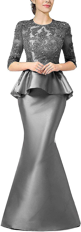 BridalAffair Burgundy Mermaid Prom Dress Beaded Evening Dress Lace with Peplum