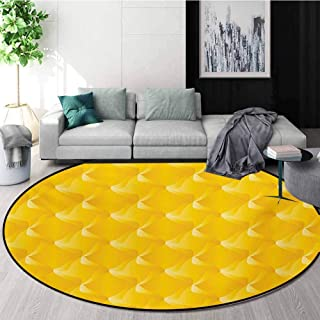 RUGSMAT Yellow Round Area Rug,Abstract Design Shaded Curving Lines and Swirling Motifs Patterns Monochromatic Print Design Non-Slip Fabric Round Rugs for Bedroom,Diameter-51 Inch Yellow