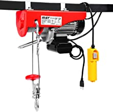 Goplus 880LBS Lift Electric Hoist Crane Remote Control Power System, Carbon Steel Wire Overhead Crane Garage Ceiling Pulley Winch w/Emergency Stop Switch, UL Approval