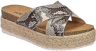 Womens Coky Open Toe Criss Cross Platform Wedge Espadrille Sandals- Cream Snake