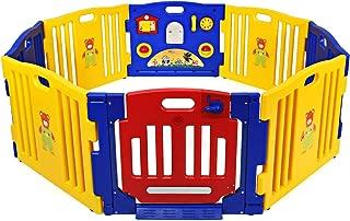 Costzon Baby Playpen, Kids 8 Panel Safety Activity Center Play Zone w/Metal Walk-Through..