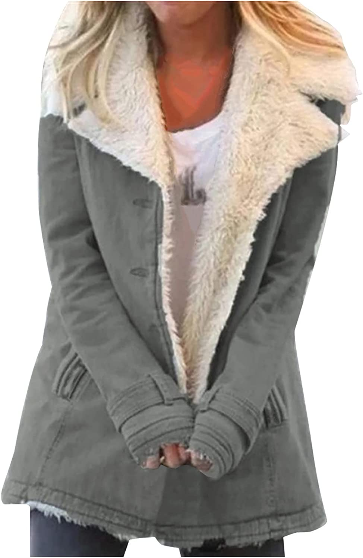 Uppada Winter Jackets for Women Sherpa Oversized Warm Long Sleeve Coats Lapel Fluffy Fleece Lined Button Pockets Outwear