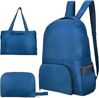 YoungRich Mochila Plegable Mochila Ligera y Compacta con Correa Ajustable para el Hombro Bolso de Viaje Resistente a Prueba de Agua para la Escuela Senderismo Compras Azul 17.7 × 14.6 × 5.9 Inch