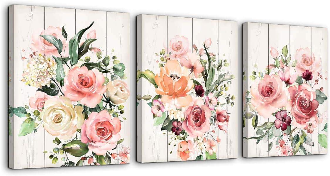 Pale pink flower rose on wood CANVAS WALL ART PRINT ARTWORK