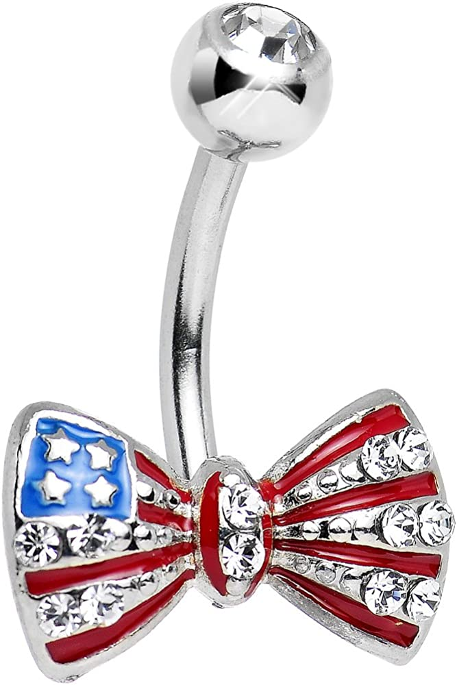 Clear American Flag Bow Tie Belly Button Ring