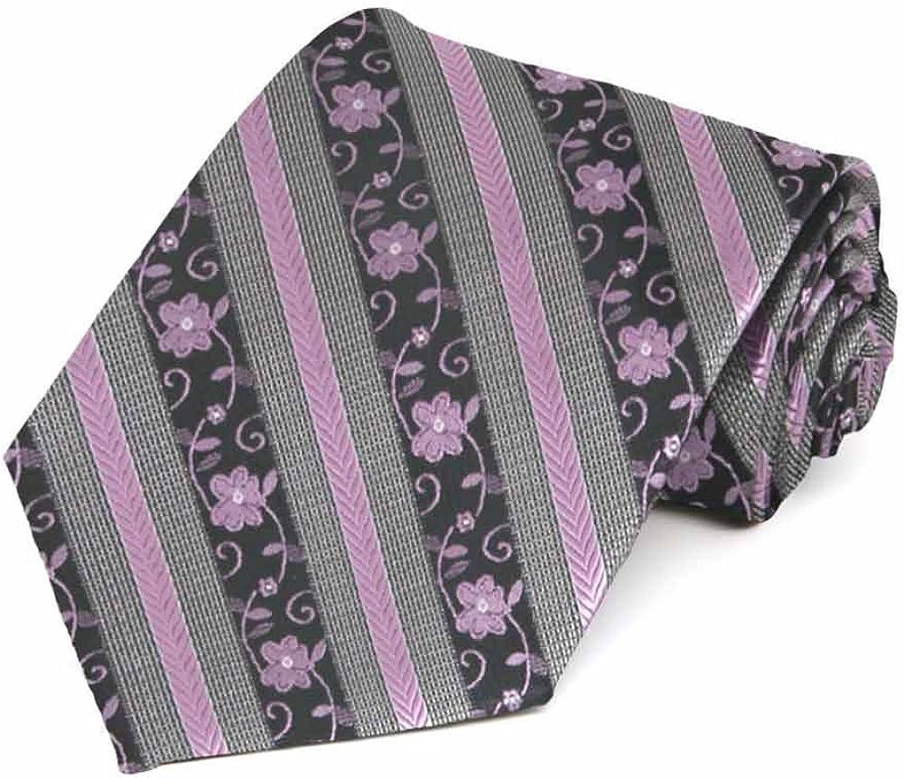 TieMart English Lavender Anna Floral Stripe Necktie