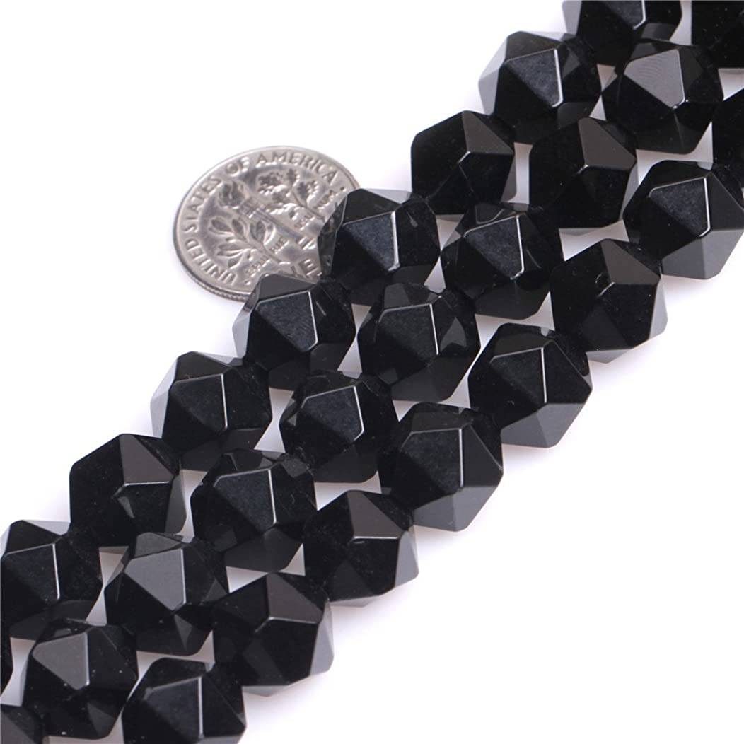 Black Agate Beads for Jewelry Making Natural Semi Precious Gemstone 12mm Faceted Strand 15
