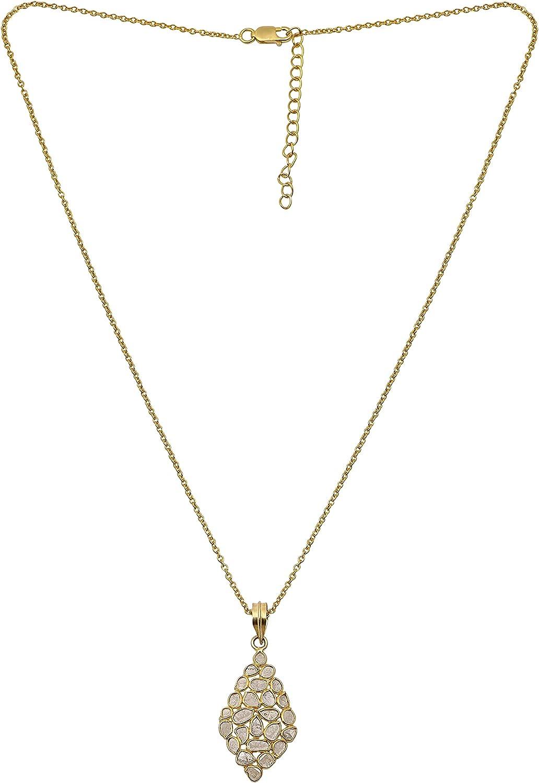 2.50 CTW Natural Diamond Portland Mall Polki Kite Statement Geometric Necklace Award-winning store