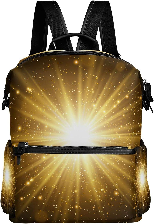 MONTOJ Dazzling golden Light Pattern Leather Travel Bag Campus Backpack