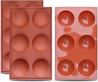 Topinon Silicone 6-Cavity Half Circle Half Sphere Half Round Hemisphere Baking Mould Chocolate Desserts Ice Cream Bombs So...