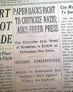 MARBURG SPEECH Germany Franz von Papen Anti-National Socialism 1934 Newspaper THE NEW YORK TIMES, June 18, 1934