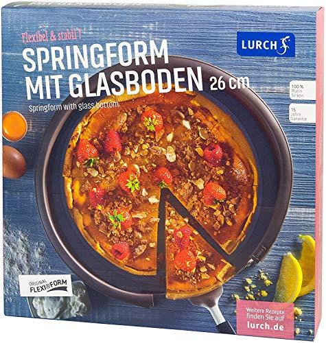 Lurch 85008 FlexiForm Springform mit Glasboden / runde Kuchenbackform (Ø 26 x 6 cm) aus 100% BPA-freiem Platin Silikon, braun