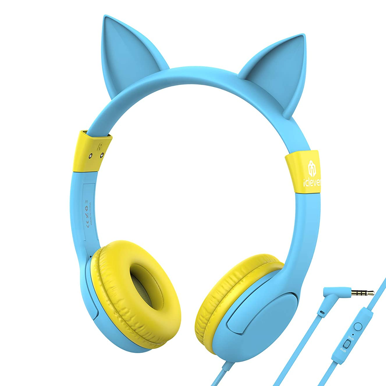 iClever Kids Headphones - Cat-Inspired Wired On-Ear Headphones for Kids, Adjustable 85/94dB Volume Control, Food Grade Silicone, Lightweight - Childrens Headphones with Microphone, Blue/Yellow