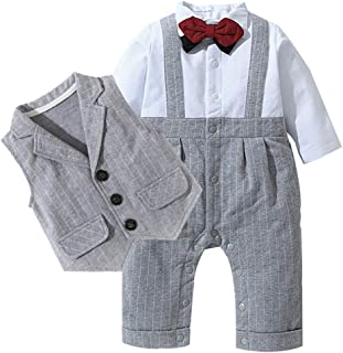 ALLAIBB Infant Baby Boys Outfit 3pc Clothes Set Formal Tuxedo Stripe Romper+Vest Suit