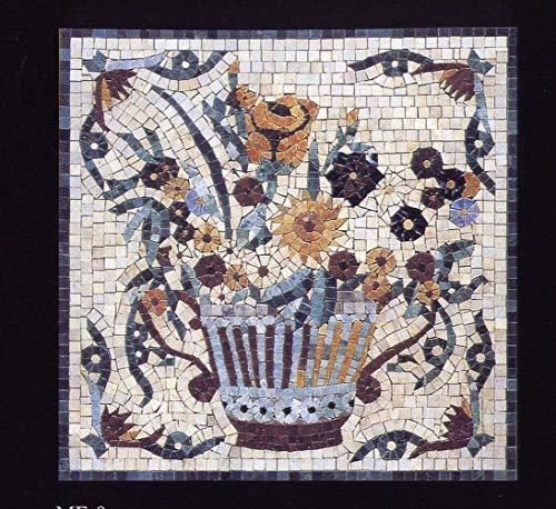 Mosaico Alfombra mármol ME8. Mosaico de mármol Estilo románico. Muy Decorativo. Interior o Exteriores. Incluso para enmarcar. Enmallado. Hecho a Mano. Aspecto Antiguo.