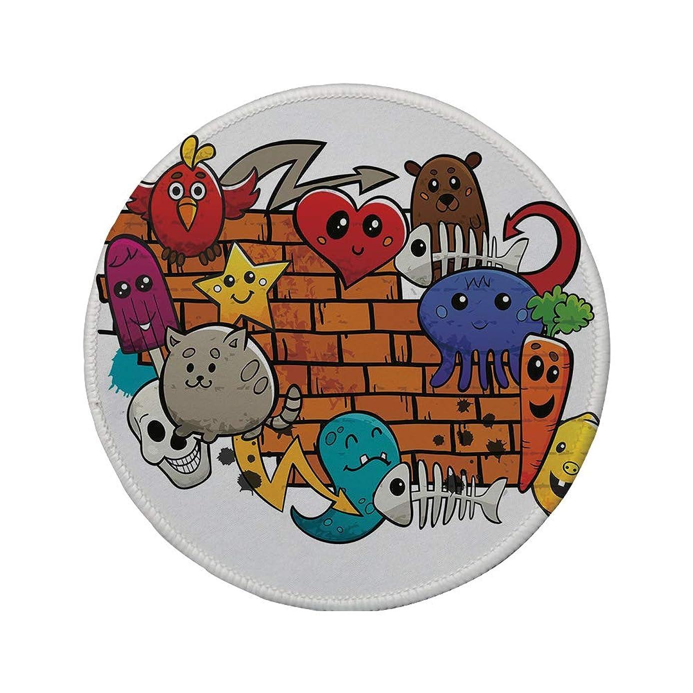 Non-Slip Rubber Round Mouse Pad,Graffiti Decor,Cute Cartoon Animals Stars Fish Skulls Cat Bird Figures on Brick Wall Kids Design,Multi,11.8
