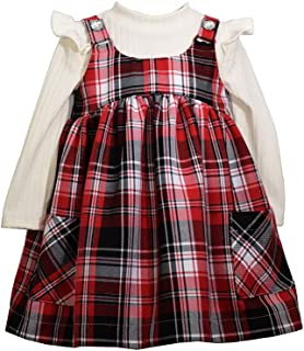 Bonnie Jean Girl's Holiday Christmas Dress - Plaid Jumper Dress for Baby and Toddler Girls
