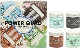 Advanced Clinicals Power Quad Face Masks Charcoal Mask, Vitamin C Mask, Collagen Mask, Hyaluronic Mask