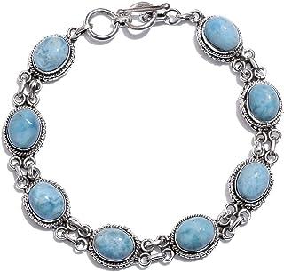 Handcrafted Bracelet Gift For You ! Solid 925-Sterling Silver Bracelet With Natural Larimar Gemstone Handcrafted Charm Wit...