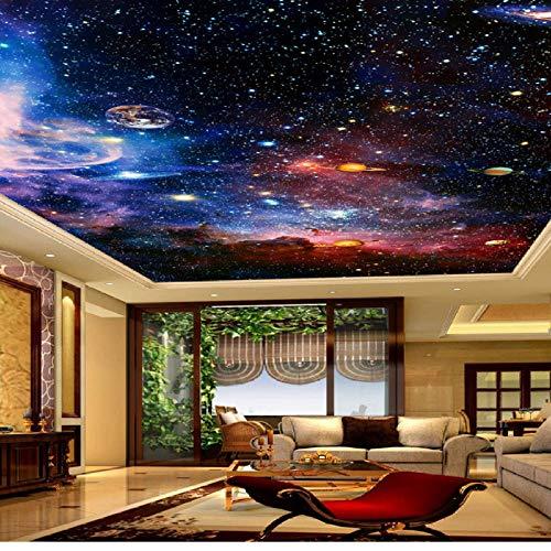 Hwhz Benutzerdefinierte Fototapete Universum Stern Himmel Wohnzimmer Decke Fresko Europäischen Stil Home Decoration Wandkunst Decke Tapete 3D-200X140Cm