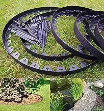 Garden Edging Lawn Edge 20m 60 STRONG Pegs Flexible Plastic Grass Border Wall