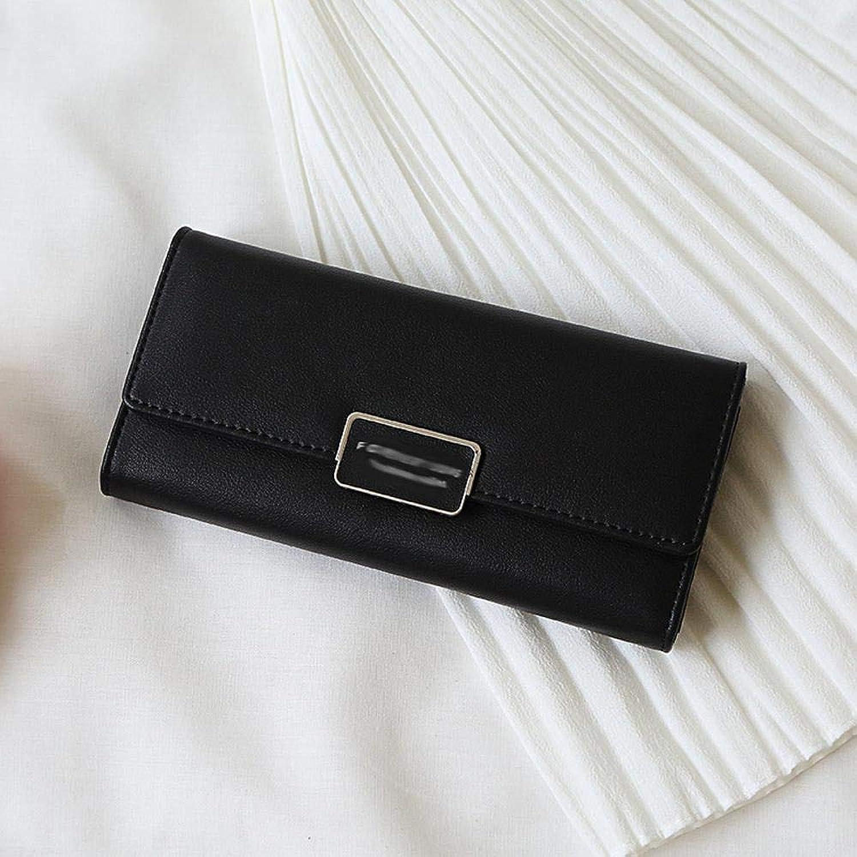 Girls Purse Women's Wallet Women's Purse PU Large Wallet MultiCard Buckle Purse 19  2  9.5cm (color   D)