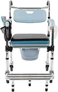 Goujxcy Shower Wheelchair,4 in 1 Multifunctional Aluminum Elder People Disabled People Pregnant Women Commode Chair Bath Chair Light Blue