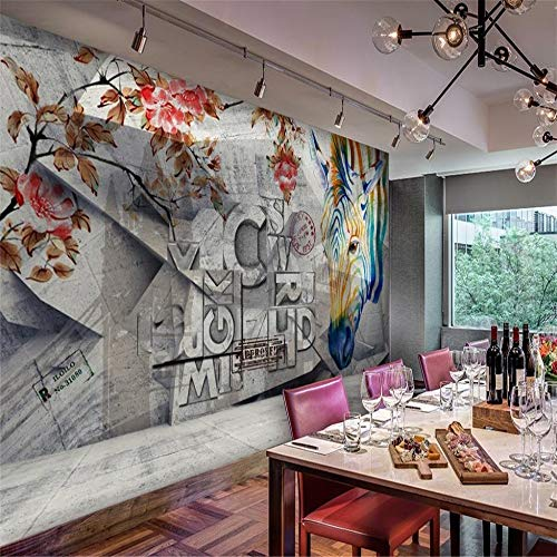 zyyaky Wallpaper Color Letters on Wall Coffee Shop Background 3D Living Room Bar Photo