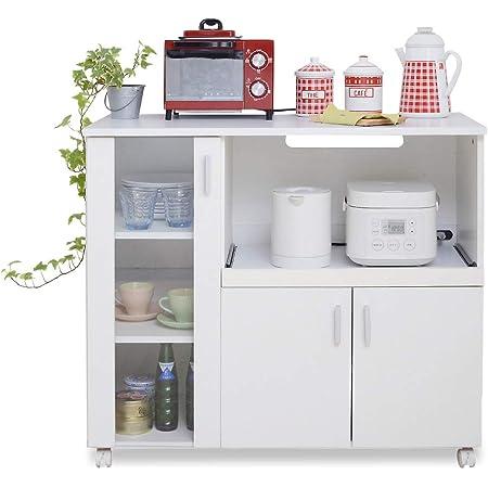JKプラン キッチンカウンター キッチンボード レンジ台 キッチン収納 食器棚 キャスター付き ホワイト 白 TSFAP0017WH