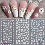 Flower Nail Art Sticker Decals 5D Hollow Exquisite Pattern Nail Art Supplies Self-Adhesive Luxurious Nail Art Decoration White Feather Lace Flower Leaf Carving Design DIY Acrylic Nail Art, 3 Sheet