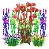 X-zoo Plantas Artificiales, 7 plantas acuáticas artificiales de peces en plástico grandes decoraciones de acuario, ornamentos coloridos