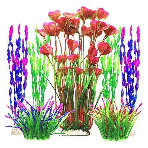 X-zoo Plastikpflanzen für Aquarien, 7 STK Künstlich Aquarium Pflanzen Aquarium Wasserpflanzen für Fisch Tank Ornament Dekoration