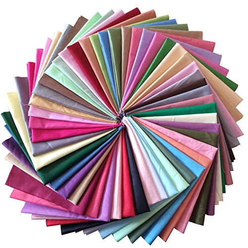 longshine-us Premium Cotton Craft Fabric Bundle Squares Patchwork Lint DIY Sewing Scrapbooking Quilting Dot Pattern Artcraft (50pcs 8'x8' Solid Color)