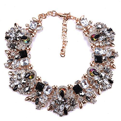 Rhinestone Bib Statement Necklace Vintage Chunky Chain Choker Collar Necklace Crystal Beads Women Fashion Jewelry Necklace (Black+White)