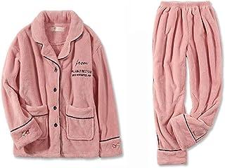 ZZHF shuiyi パジャマ、恋人緩やかなスプライシングエッジパジャマ男性の冬の厚い暖かい服を保つ女性の皮膚に優しい絶妙なシンプルなカジュアルなホームウェア 寝間着 (色 : Pink-female, サイズ さいず : XL)
