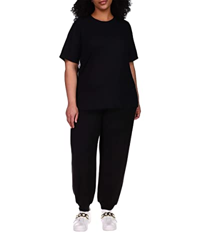 MICHAEL Michael Kors Plus Size Waffle Logo Tape T-Shirt (Black) Women