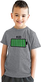 Youth Kid Battery Fully Charged Funny Crazy Kids Parenting T Shirt