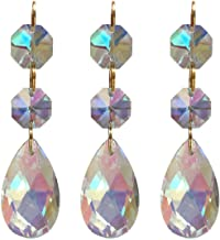 Little Chair 10Pieces Teardrop Crystal Chandelier Pendants Parts Beads,Hanging Crystal Beads Chain Garland,Door Curtain,Crystal Chandelier Pendants Parts Glass Beads (38mm) (AB Colorful)